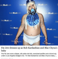 Memes, 🤖, and Dai: ally mail.com  Daily m  Mail.com  Daily  mail com  Daily  ailymail.com  mail  Daily  Dai  Daily  mail  ymail.com  m Daily  coma  mail  il con  Daily  Daily  COm  Dail lail  Fat Jew dresses up as Rob Kardashian  and Blac Chyna's  baby  The Fat Jew wore a diaper, silk polka-dot bib, oversized pacifier and a blond wig  under a Los Angeles Dodgers hat.  m Rob Kardashian and Blac Chyna's baby, I don't dress up for Halloween (because I dress like an idiot 364 days a year, so it's basically my night off) but this year I decided to go as Kandiiii, the newest Kardashian who hasn't been born yet. Oh and also, I'M WEARING TIMS (@dailymail)