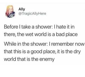 hydro-homies:  Body water.: Ally  @TragicAllyHere  Before I take a shower: I hate it in  there, the wet world is a bad place  While in the shower: I remember now  that this is a good place, it is the dry  world that is the enemy hydro-homies:  Body water.
