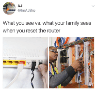 Family, Memes, and True: almAJBro  What you see vs. what your family sees  when you reset the router  -翠ETHERNET-  .  POWER-ON  LOFF  RESET This is so true 😂💯 https://t.co/OW7RCq4Ec1