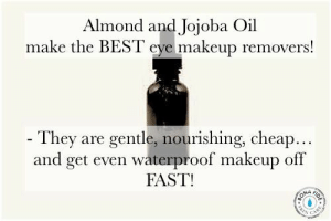Makeup, Best, and Eye: Almond and Jojoba Oil  make the BEST eye makeup removers!  - They are gentle, nourishing, cheap...  and get even waterproof makeup off  FAST!  BOLA  ON4  CAR These oils let you take off eye makeup without pulling and WITHOUT drying ingredients. More great tips on Bona Fide Skin Care....