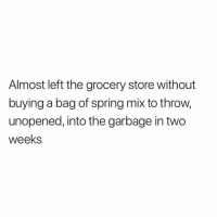 Memes, Spring, and Time: Almost left the grocery store without  buying a bag of spring mix to throw,  unopened, into the garbage in two  weeks Every time 🌱 Just incase I feel like being healthy..