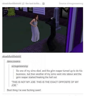 The Sims Gone Wrong by garthpancake MORE MEMES: aloadofuntitledshit the-last-britis...  Source: simsgonewrong  aloadofuntitledshit  darecrowavis  So one of my sims died, and the grim reaper turned up to do his  business, but then another of my sims went into labour and the  grim reaper started freaking the hell out  THIS IS NOT MY JOB. THIS IS THE EXACT OPPOSITE OF MY  JOB.  Best thing i've ever fucking seen! The Sims Gone Wrong by garthpancake MORE MEMES