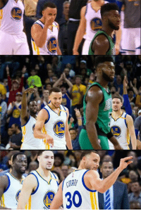"""Memes, 🤖, and Browning: ALOEYd  ee Steph Curry pointing and talking trash to Jaylen Brown after hitting a 3rd quarter buzzer-beater. Curry went scoreless in the 4th as the Celtics destroyed the Warriors in the final quarter.    After the game, Brown said """"It was cute""""   VIDEO: bit.ly/2mmQeJg"""