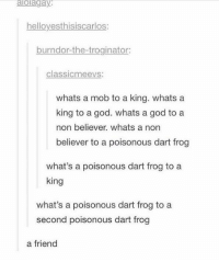 "God, Http, and King: alolagay  helloyesthisiscarlos  burndor-the-troginator:  classicmeevs:  whats a mob to a king. whatsa  king to a god. whats a god to a  non believer. whats a non  believer to a poisonous dart frog  what's a poisonous dart frog to a  king  what's a poisonous dart frog to a  second poisonous dart frog  a friend <p>frog pals via /r/wholesomememes <a href=""http://ift.tt/2limUq2"">http://ift.tt/2limUq2</a></p>"