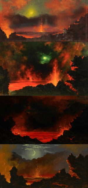 "aloneandforsakenbyfateandbyman:  Portraits of Kilauea Volcano by Jules Tavernier (1844-1889)    Tavernier was a French painter who was fascinated by Hawaii's awe-inspiring fiery volcanoes. To reach Kilauea in the 1800s, one would have to make a difficult 3 day journey by horseback. Despite this, Tavernier called the place ""an artist's paradise.""   : aloneandforsakenbyfateandbyman:  Portraits of Kilauea Volcano by Jules Tavernier (1844-1889)    Tavernier was a French painter who was fascinated by Hawaii's awe-inspiring fiery volcanoes. To reach Kilauea in the 1800s, one would have to make a difficult 3 day journey by horseback. Despite this, Tavernier called the place ""an artist's paradise."""