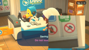 """Along with a little-too-real """"no bottled liquids"""" sign, there appears to be an additional """"No Party Poppers"""" sign hidden behind the wall in Dodo Airlines in Animal Crossing: New Horizons.: Along with a little-too-real """"no bottled liquids"""" sign, there appears to be an additional """"No Party Poppers"""" sign hidden behind the wall in Dodo Airlines in Animal Crossing: New Horizons."""