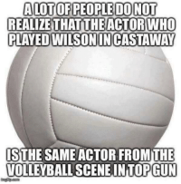 Volleyball, Military, and Who: ALOTOF PEOPLE DO NOT  REALIZETHAT THE ACTOR WHO  PLAYED EDWILSONINCASTAWAY  ISTHE SAME ACTOR FROM THE  VOLLEYBALL SCENE INTOPGUN Danger zone