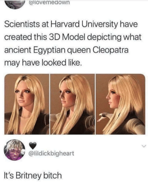 Bitch, Dank, and Memes: alovemedown  Scientists at Harvard University have  created this 3D Model depicting what  ancient Egyptian queen Cleopatra  may have looked like.  @lildickbigheart  It's Britney bitch So she is a queen? by MyHardNipplescutGlas MORE MEMES