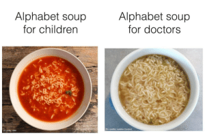 Children, Alphabet, and What Does: Alphabet soup  for children  Alphabet soup  for doctors  Pic credits: Lashika Comfort  Pic credits: 123RF uhm doc what does this say?