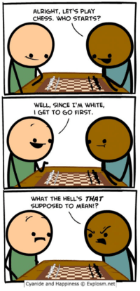 Alright: ALRIGHT, LET'S PLAY  CHESS. WHO STARTS?  WELL, SINCE I'M WHITE,  GET TO GO FIRST.  WHAT THE HELL'S THAT  SUPPOSED TO MEAN!?  Cyanide and Happiness C Explosm.net