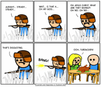 https://t.co/kR7jbqqObo: ALRIGHT... STEADY...  STEADY  THAT'S DISGUSTING.  WAIT... is THAT A  OH MY GOD...  BANG!  Cyanide and Happiness Explosm.net  OH JESUS CHRIST, WHAT  ARE THEY DOING?!  OH NO. OH NO  OOH, TURDUCKEN! https://t.co/kR7jbqqObo