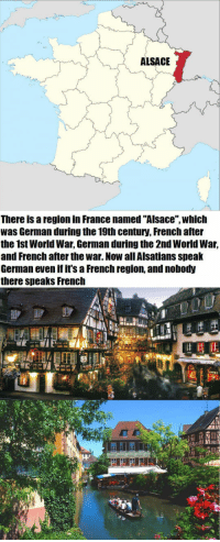"""France, Germany, and World: ALSACE  There is a region in France named """"Alsace"""", which  was German during the 19th century, French after  the 1st World War, German during the 2nd World War,  and French after the war. Now all Alsatians speak  German even if it's a French region, and nobody  there speaks French <p>The Story Of Alsace, French Vs. Germany.</p>"""