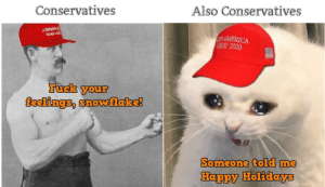 America, Fuck, and Happy: Also Conservatives  Conservatives  AMERICA  REAT 2020  ARACY  Fuck your  feelings, snowlake!  Someone told me  Happy Holidays Me_irl