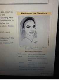 Madonna, Pop, and Information: also known by  er and  Goulding. After  Gold Records, in  by her third  d album, Electra  Marina and the Diamonds  which  means  nd backing.3 She  om Waits,  and Madonna.78  Marina and the Diamonds performing on a  Swedish TV show in 2012  Background information  Birth name Marina Lambrini Diamandis  10 October 1985 (age 27)  Abergavonny, Monmouthshire,  Wales  Born  Genrosindie po9, New Wavo, synthpop,  donce pop  Occupations Singer songwritor, musician  Instruments Vocals. piano, soyboards  Show All