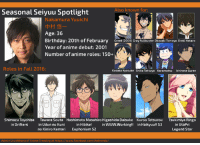 """America, Animals, and Best Friend: Also known for:  Seasonal Seiyuu Spotlight  Nakamura Yuuichi  Age: 36  Birthday: 20th of February Greed (2009) Gray Fullbuster Okazaki Tomoya oreki Hotaro  Year of anime debut: 2001  Number of anime roles: 150+  Roles in Fall 2016  Kosaka Kyosuke Shiba Tatsuya Karamatsu Ichinose Guren  Shimazu Toyohisa  Tawara Souta Hashimoto Masahiro Higashida Daisuke Kuroo Tetsurou  Tsukimiya Ringo  in Drifters  in Udon no Kuni  in Hibike  in WWw.Working!! in Haiky  S3  uu!! in UtaPri  Legend Star  no Kiniro Kemari Euphonium S2  Admin Urushihara of Anime Trending at https  facebook.com/Anitrend The Seasonal Seiyuu Spotlight is here once more, coming to you with yet another seiyuu worthy of your attention.  This week - Nakamura Yuuichi, whose name I expect you've heard at least once in the anime community, considering the amount of iconic roles he had played.  Although mostly recognized for his roles as older male characters (30s), he does just as good of a job when voicing characters in high school, in their twenties, or simply any handsome, mature male character. His voice is on the lower side of the spectrum, but his acting makes him thrive in any role he receives.  As for trivia:  Origins: Kagawa Prefecture, Japan Height: 175 cm Weight: 65 kg Blood type: B Chuutatsu (仲達) is his alias for visual novel/games. His nickname """"You-Kyan"""" was given by Suzumura Kenichi Loves cats but is afraid of having them die before him, he can't have of his own. Non-alcoholic, mostly drinks soft drinks or orange juice during party. (and this is a RARITY among seiyuu) Best friends with Sugita Tomokazu Narrated the Mahjong episode of Osomatsu-san, although, amusingly, he knows nothing about Mahjong (not even the rules or the tiles) He is often confused with a Japanese movie/TV/stage actor with the same name. He personally admitted that working on Amaama to Inazuma 'healed' him. He voices Captain America in the Japanese dub of the Marvel movies. He also voiced Gale in"""