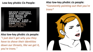 "Be Like, Low Key, and World: Also low-key phobic cis people:  Constantly pointing out that you're  Low-key phobic Cis People:  trans*  NEVER FORGET  WHAT YOU ARE.  THE REST OF  THE WORLD  WILL NOT.  WEAR IT LIKE  ARMOR, AND IT  CAN NEVER  BE USED TO  HURT YOU.  Also low-key phobic cis people:  ""I just don't get why you they  have to shove their identities  down our throats, like we get it,  you're trans."" They don't think it be like it is, but it do. TW: transphobia"