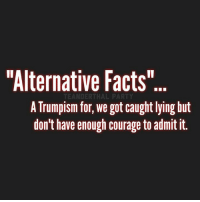 """When Kellyanne Conway doesn't like the facts she comes up with """"alternative facts"""".: """"Alternative Facts  TEANDERTHAL PARTY  A TrumplSm for, We got caught lying but  don't have enough courage to admit it. When Kellyanne Conway doesn't like the facts she comes up with """"alternative facts""""."""