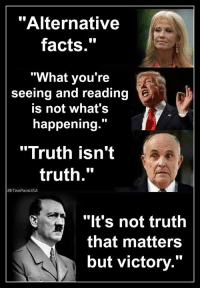 """Alternative Facts: """"Alternative  facts.""""  """"What you're  seeing and reading  is not what's  happening.""""  """"Truth isn't  truth.""""  DTeaPainUSA  """"lt's not truth  that matters  but victory."""""""