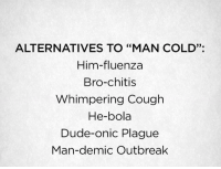 """Dude, Cold, and Plague: ALTERNATIVES TO """"MAN COLD"""":  Him-fluenza  Bro-chitis  Whimpering Cough  He-bola  Dude-onic Plague  Man-demic Outbreak  33."""