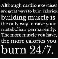 👌 @officialdoyoueven 💯: Although cardio exercises  are great ways to burn calories,  building muscle is  the only way to raise your  metabolism permanently.  The more muscle you have,  the more calories you  burn 24/7 👌 @officialdoyoueven 💯