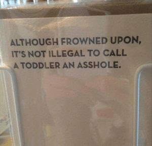 They have a point. via /r/funny https://ift.tt/2njKHUO: ALTHOUGH FROWNED UPON,  IT'S NOT ILLEGAL TO CALL  A TODDLER AN ASSHOLE They have a point. via /r/funny https://ift.tt/2njKHUO