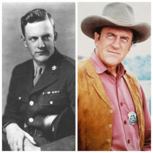 Although James Arness wanted to be a naval fighter pilot, he was concerned his poor eyesight would bar him. However, it was his 6 feet 7 inches frame that ended his chances because the limit for aviators was set at 6 feet 2 inches. He was drafted into the US Army and reported to Fort Snelling, Minnesota in March 1943.  As a rifleman, he landed on Anzio Beachhead on January 22, 1944, with the 2nd Platoon, E Company, 2nd Battalion, 7th Infantry Regiment of the 3rd Infantry Division. Arness - due to his height - was the first man to be ordered off his landing craft to determine the depth of the water; it came up to his waist. Arness was severely wounded in his right leg during the Battle of Anzio.  Arness was sent to the U.S. Army 91st General Hospital in Clinton, Iowa, to be treated for his wounds. After undergoing several surgeries, he was honorably discharged on January 29, 1945. However, his wounds continued to bother him throughout the rest of his life; in later years he had to cope with chronic leg pain that often became acute, such as when he mounted horses during his performance on Gunsmoke.  His military decorations include the Bronze Star, the Purple Heart, the European-African-Middle Eastern Campaign Medal with three bronze battle stars, the World War II Victory Medal, and the Combat Infantryman Badge.  Acting career: Although James Arness wanted to be a naval fighter pilot, he was concerned his poor eyesight would bar him. However, it was his 6 feet 7 inches frame that ended his chances because the limit for aviators was set at 6 feet 2 inches. He was drafted into the US Army and reported to Fort Snelling, Minnesota in March 1943.  As a rifleman, he landed on Anzio Beachhead on January 22, 1944, with the 2nd Platoon, E Company, 2nd Battalion, 7th Infantry Regiment of the 3rd Infantry Division. Arness - due to his height - was the first man to be ordered off his landing craft to determine the depth of the water; it came up to his waist. Arness was severely wounded in his right leg during the Battle of Anzio.  Arness was sent to the U.S. Army 91st General Hospital in Clinton, Iowa, to be treated for his wounds. After undergoing several surgeries, he was honorably discharged on January 29, 1945. However, his wounds continued to bother him throughout the rest of his life; in later years he had to cope with chronic leg pain that often became acute, such as when he mounted horses during his performance on Gunsmoke.  His military decorations include the Bronze Star, the Purple Heart, the European-African-Middle Eastern Campaign Medal with three bronze battle stars, the World War II Victory Medal, and the Combat Infantryman Badge.  Acting career