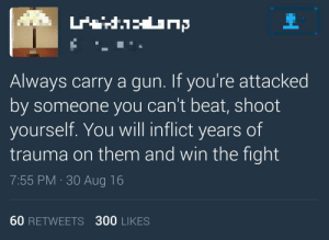 SLPT carry a gun to shoot yourself when you get attacked: Always carry a gun. If you're attacked  by someone you can't beat, shoot  yourself. You will inflict years of  trauma on them and win the fight  7:55 PM 30 Aug 16  60 RETWEETS 300 LIKES SLPT carry a gun to shoot yourself when you get attacked
