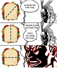 Who tf cuts sandwiches vertically: ALWAYS GO  FOR THIS  NEVER EVER  GO FOR THIS  ONLY  VILLAINS  DO THAT Who tf cuts sandwiches vertically