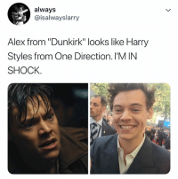 """the only reason why i watched dunkirk: always  @isalwayslarry  Alex from """"Dunkirk"""" looks like Harry  Styles from One Direction. I'M IN  SHOCK. the only reason why i watched dunkirk"""