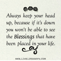 keep your head up: Always keep your head  up, because if it's down  you won't be able to see  the Blessings that have  been placed in your life  WWW.LIVELIFEHAPPY.COM