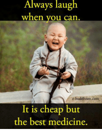 Buddhism: Always laugh  When you can  e-buddhism com  It is cheap but  the best medicine.