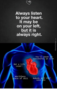 Memes, Success, and 🤖: Always listen  to your heart.  It may be  on your left,  but it is  always right.  You'll  never  successful in life  Get a life  Loser  Worthless  iece of shit  Nobody will e  love you Listen to your heart!