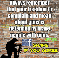 Agreed!: Always remember  that your freedom to  complain and moan  about guns  defended by brave  people with guns.  NATION  IN  DISTRESS  like us on  SHARE  facebook  YOU AGREE Agreed!