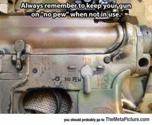 """Tumblr, Blog, and Http: Always remember to keep yourgun  on""""nopew"""" when notinuse-  no.pew when notinuse.  Ew  SAFE  NO PEW  you should probably go to TheMetaPicture.com srsfunny:Remember To Be Safe"""