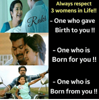 Rabied: Always respect  3 womens in Life!!  One who gave  Birth to you!!  Rabi  One who is  Born for you!!  - One who is  Born from you!!