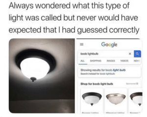 Google, Meme, and Phone: Always wondered what this type of  light was called but never would have  expected that I had guessed correctly  Google  boob lightbulb  ALL SHOPPING IMAGESVIDEOS NEW  Showing results for boob light bulb  Search instead for boob lightbub  Shop for boob light bulb  Sponsored o awesomesthesia:  That's it. I've posted every meme on my phone