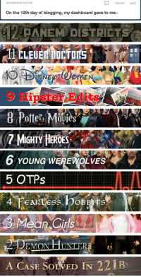Christmas, Target, and Tumblr: alwaysanoriginal  delete edit  On the 12th day of blogging, my dashboard gave to me  PANEM DISTRICTS  SNE  work lor me  Potter, M  ies   6 yOUNÇ WEREWOLVES  LA  5 OTPs  EMON  GR  A CASE SOLVED IN 221B tonks-has-pink-hair:  alwaysanoriginal:     Christmas song parodies - 12 days of Tumblr