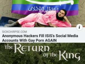 Hes back via /r/memes https://ift.tt/2KDpbbv: ALY LINES  i  SICKCHIRPSE.COM  Anonymous Hackers Fill ISIS's Social Media  Accounts With Gay Porn AGAIN  the ReTuRn  obe King  ETURN  OFTHE Hes back via /r/memes https://ift.tt/2KDpbbv