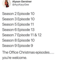 Christmas, Memes, and The Office: Alyson Gerstner  @AyyKayyGee  Season 2 Episode 10  Season 3 Episode 10  Season 5 Episode 11  Season 6 Episode 13  Season 7 Episode 11 & 12  Season 8 Episode 10  Season 9 Episode 9  The Office Christmas episodes....  you're welcome. Well I know what I'll be up to if anyone needs me 😂💯💕(AyyKayyGee)