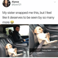 """Via, Snapped, and First: Alyssa  @lyss121  My sister snapped me this, but l feel  like it deserves to be seen by so many  more  Safety first! <p>Safety First! via /r/wholesomememes <a href=""""https://ift.tt/2JLxtx9"""">https://ift.tt/2JLxtx9</a></p>"""