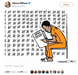 "News, Shit, and Tumblr: Alyssa Milano  @Alyssa_Milano  Follow  Ns  NEWS  MARIJU  4:14 PM 18 Apr 2018  MAKEMAT  1,593 Retweets 4.735 Likes  主与玉丰丰  -- jetfuelgirl:  cheshireinthemiddle:  But you knowingly broke the law. You could sleep with a 17 year old and the age of consent of your state can lower the next year. You still broke the law.   Then I guess every slave who escaped should've been sold back into slavery after slavery was abolished because they ""broke the law"" by escaping 🙄If the law was stupid and immoral to begin with, you shouldn't be punished for it, and you sure as shit shouldn't continue to be punished for it after it's rightfully legalized."