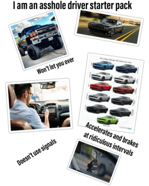 Been done, but still should be reiterated. I am an asshole driver starter pack.: am an asshole driver starter pack  2015 Dodge Challenger SRT  Hellcat Color Chart  Won't let you over  Accelerates and brakes  at ridiculous intervals  signals  use  Doesn't Been done, but still should be reiterated. I am an asshole driver starter pack.