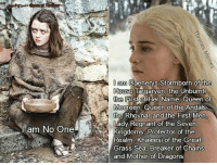Queen, House, and Dragons: am Daenerys Stormborn of the  House  Targaryen, the Unburnt  the First of Her Name, Queen of  Meereen, Queen of the Andals  the Rhoynar and the First Men  Lady Regnant of the Seven  Kingdoms, Protector of the  Realm, Khaleesi of the Great  Grass Sea, Breaker of Chains  and Mother of Dragons  am No One The difference https://t.co/bG1uVqIg34