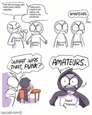 Late 2000s kids rise up.: am full of energy and  have super catchy  Trance isn't  meant to be  melodies  catchy, it's  meant to be  emotional  AMATEURS.  22  Big rooh  Trance  Uplifting  Trance  Uplifting  Trance  Big room  Trance  WHAT WAS  THAT, PUNK?  AMATEURS  Hard  Trance  OWLTURD.COM Late 2000s kids rise up.