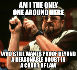 Only One, Am I the Only One, and Proof: AM I THE ONLY  ONE AROUNDIHERE  WHO STILI WANTS PROOF BEYONID  AREASONABLE DOUBTI  A COURT OF LAW You should always believe the victim