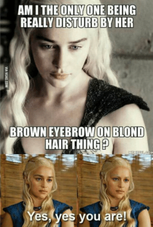 Hair, Disturbed, and Her: AM I THEONLY ONE BEING  REALLY DISTURB BY HER  BROW ON BLOND  HAIR THINGp  BROWN EYE  Yes yes you are To the person who is disturbed by her eyebrows