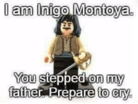 LOL! :-D: am Inigo Montoya.  You stepped on my  father Prepare to cry. LOL! :-D