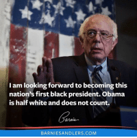 Bernie savage for this. Gonna need aloe Vera for that bern: am looking forward to becoming this  nation's first black president. Obama  is half white and does not count.  annie  BARNIESANDLERS.COM Bernie savage for this. Gonna need aloe Vera for that bern