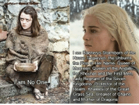 Memes, Queen, and Dragons: am No One  am Daeners Stormborn of the  House  Targaryen, the Unburnt  the First of Her Name, Queen of  Meereen Queen of the  Andals  the Rhoynar and the First Men,  Lady Regnant of the Seven  Kingdoms, Protector of the  Realm, Khaleesi of the Great  Grass Sea, Breaker of Chains  and Mother of Dragons The Difference!