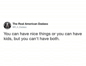 Dank, Twitter, and American: AM  The Real American Dadass  @R_A Dadass  DADAES  You can have nice things or you can have  kids, but you can't have both From @r_a_dadass/twitter